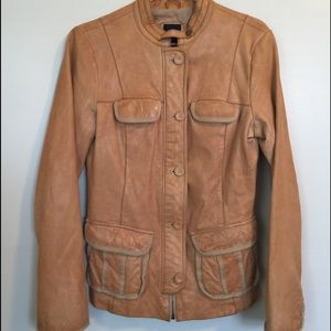 Gap supple leather fitted moto jacket size M